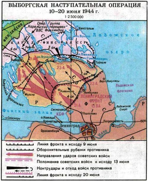 Карта-схема Выборгской наступательно операции.