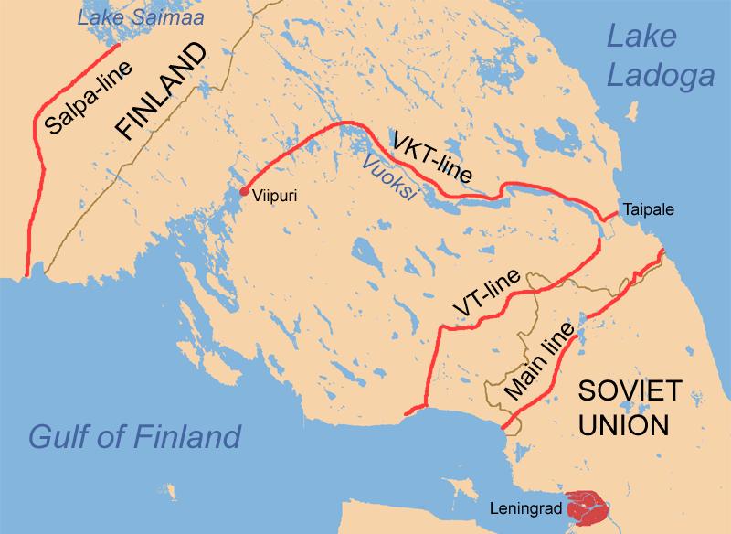 Карта финских рубежей обороны на Карельском перешейке летом 1944 г.