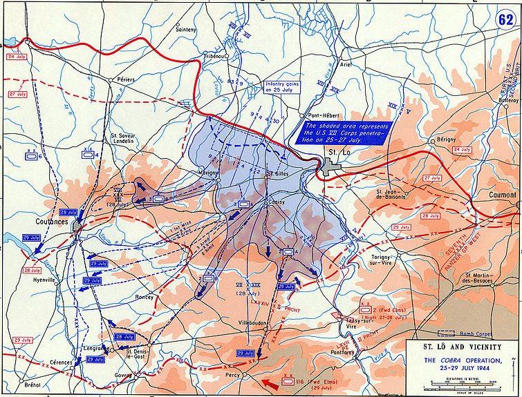План-схема операции «Кобра» - 24-29 июля 1944 года.