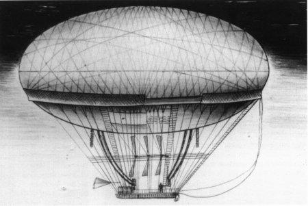 Дирижабль Мёнье 1784 год. Управляемость должна была быть осуществлена с помощью трёх пропеллеров, вращаемых вручную усилиями 80 человек.