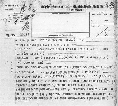 Извещение Гестапо о взятии под защитный арест в связи с «неизлечимой гомосексуальностью». 1940 г.