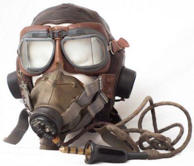 Кожаный летний шлемофон типа Е с кислородной маской.