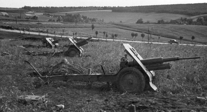 Батарея советских 76,2-мм горных пушек брошенная под Тарнополем. Июль 1941 г.