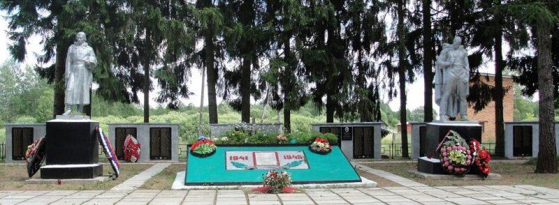 п. Погорелое Городище, Зубцовского р-на. Памятник, установленный у 11 братских могил советских воинов.