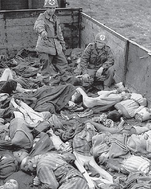 Тела узников Дахау, расстрелянных в не отправленном в эвакуацию эшелоне.