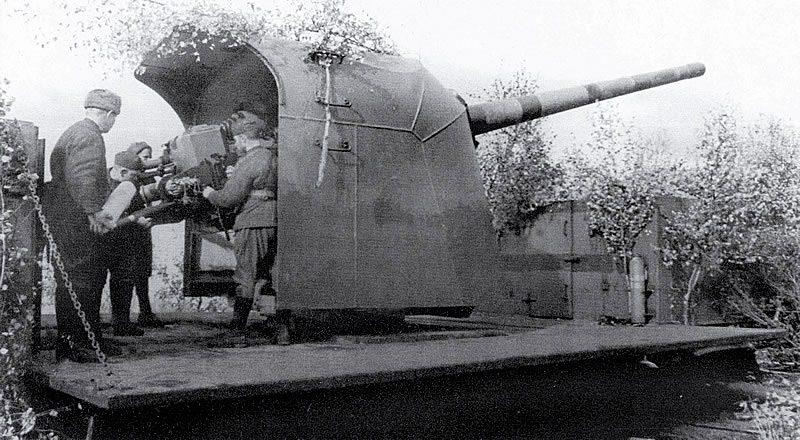 130-мм железнодорожная установка Б-57 - сухопутный вариант корабельной пушки Б-13. 1941 г.