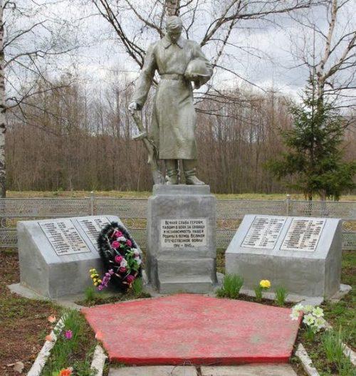 д. Покровское Калининского р-на. Памятник, установленный на братской могиле советских воинов.