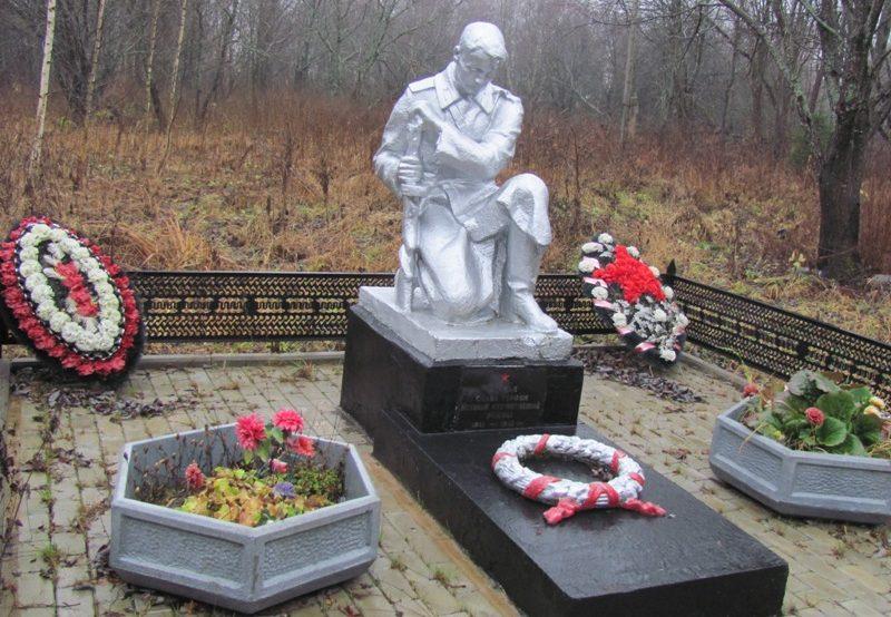 д. Поминово Калининского р-на. Братская могила школьников Александра Глинкина и Виктора Миронова, расстрелянных оккупантами в 1941 г.