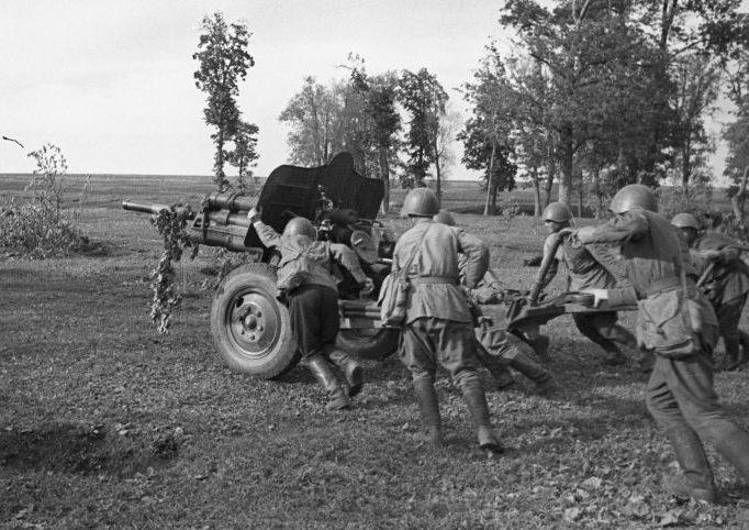 76-мм дивизионную пушку образца 1939 года (УСВ) выдвигают на позицию. 1943 г.