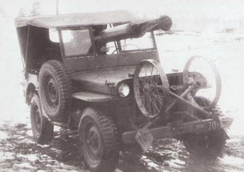 Пушка ЧК-М1, установленная на автомобиль «Виллис». 1944 г.