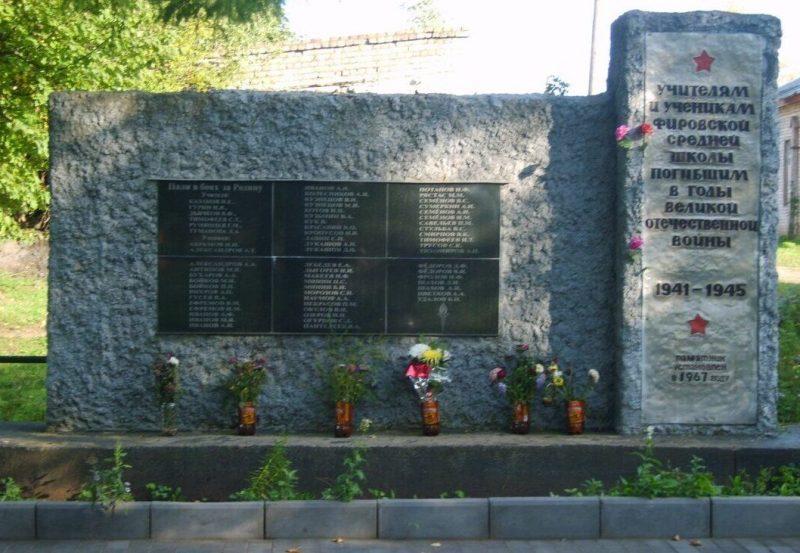 п. Фирово. Памятник учителям и учащимся Фировской школы, погибшим на фронтах войны.