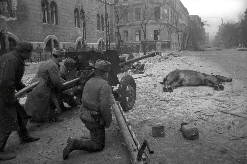 76-мм орудие ЗиС-3 на улице Будапешта. Февраль 1945 г.