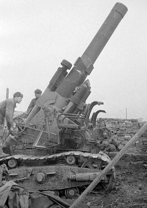 280-мм мортира БР-5 в районе Кенигсберга. Апрель 1945 г.