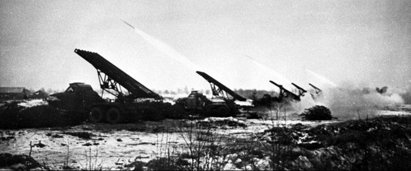 Гвардейские реактивные минометы БМ-13 «Катюша» в Восточной Пруссии. 1945 г.