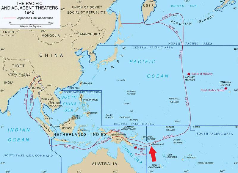Остров Гуадалканал на Тихоокеанском ТВД, летом 1942 года. (красной линией обозначена условная линия фронта между Японией и США с союзниками).