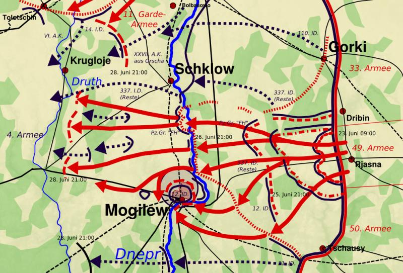 Карта-схема сражения за Могилев.