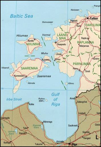 Карта Моонзундского архипелага.