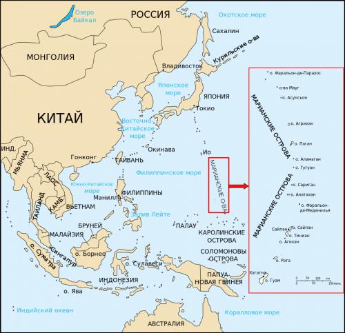 Марианские острова на карте.