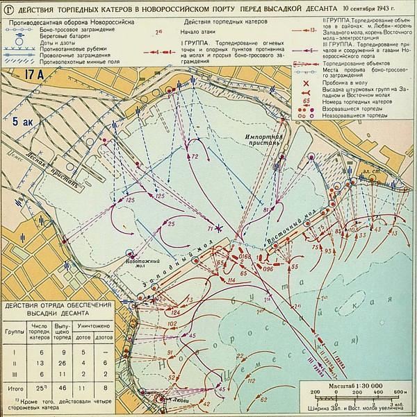 Схема действий торпедных катеров в порту перед высадкой десанта.