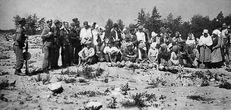 Польские крестьяне, перекапывающие территорию лагеря Треблинка в поисках золота и драгоценностей, задержанные милицией.