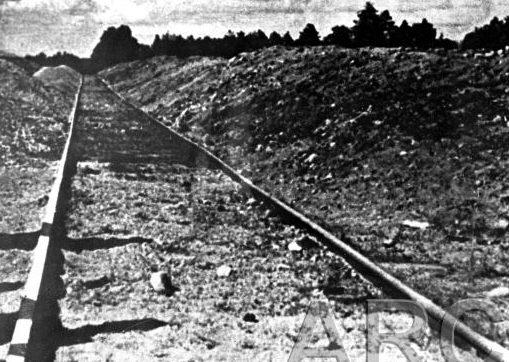 Курганы золы из сожженных трупов в Треблинке. Лето 1945 г.