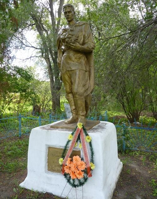 с. Акимовка Верхнеднепровского р-на. Памятник, установленный на братской могиле, в которой похоронено 75 советских воинов, погибших в боях за село.