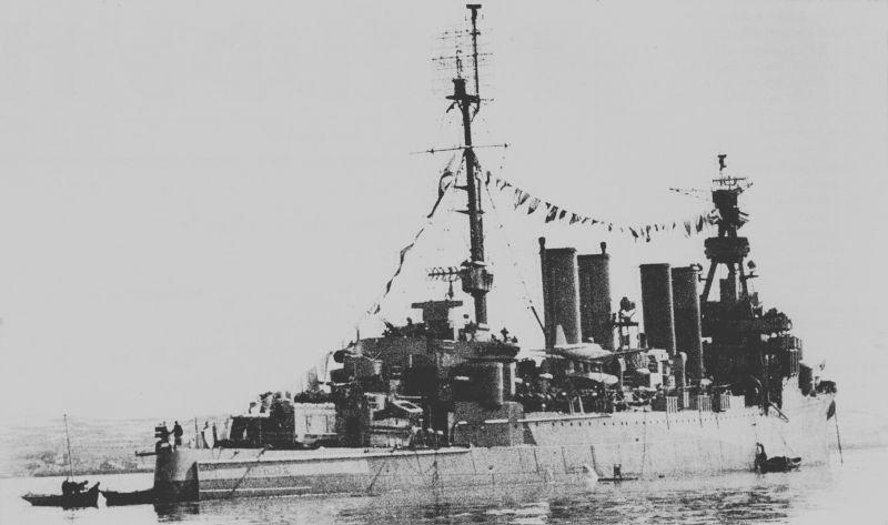 Советский легкий крейсер американской постройки «Мурманск». 1945 г.