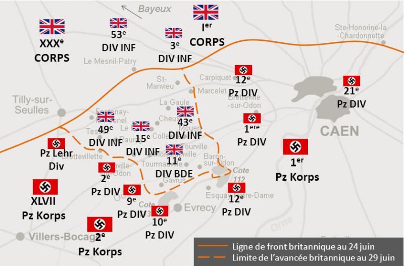 Карта-схема британских позиций 24 и 29 июня во время операции «Эпсом».