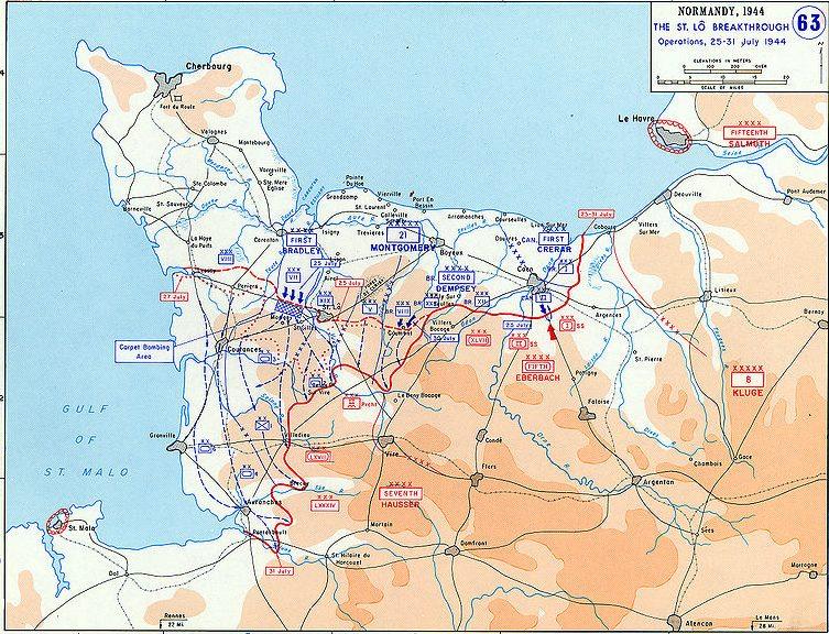 Карта-схема операций «Кобра» и «Блюкот».