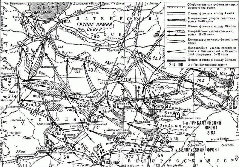 Карта-схема Шауляйской наступательной операции.