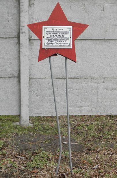 с. Булаховка Павлоградского р-на. Памятный знак с надписью на звезде: «Здесь в годы Великой Отечественной войны были засыпаны землёй Косяк и Кондрачук».