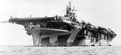 Авианосец «Yorktown» на якоре у атолла Маджуро. 1942 г.