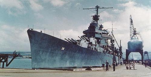 Линкор «Minneapolis» в Перл-Харборе. Апрель 1943 г.