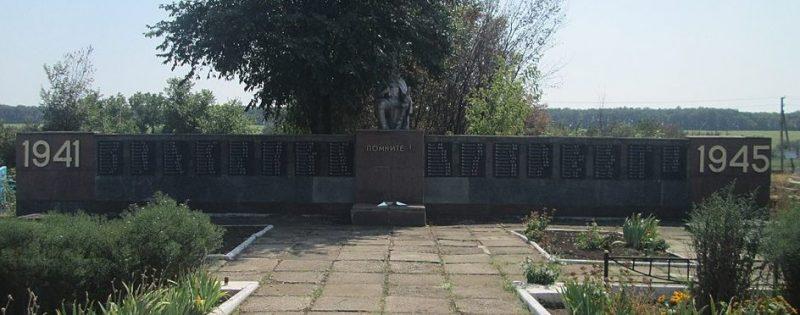 с. Водяное Покровского р-на. Мемориал, установленный на братской могиле советских воинов.