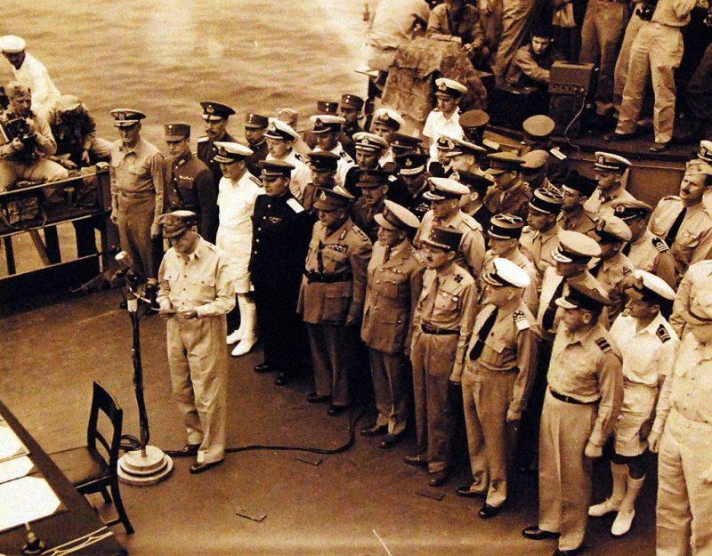 Линкор «Миссури» во время подписания японской капитуляции. Сентябрь, 1945 г.