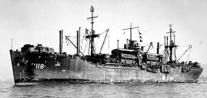 Возвращение военнослужащих с Тихого океана на борту транспорта «Хендри». 1945 г.