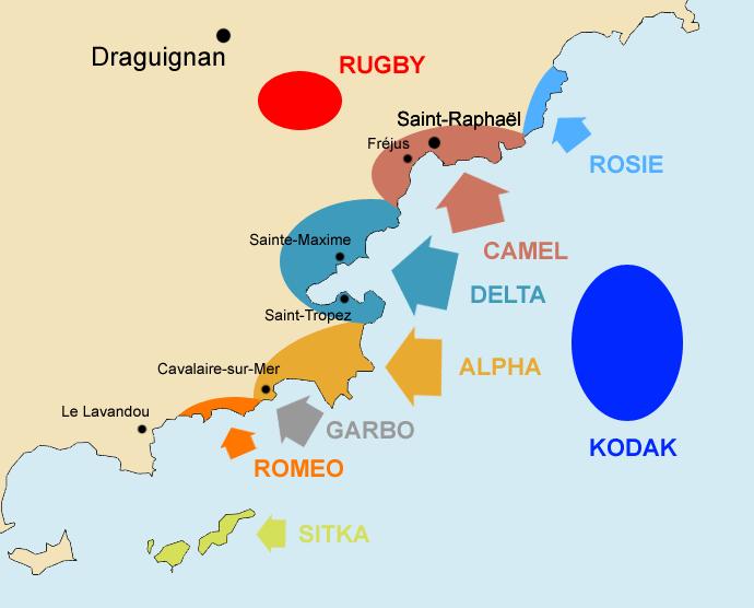 Карта участков высадки морского десанта.