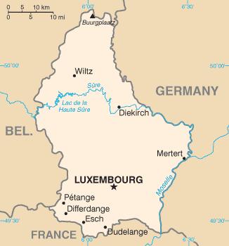 Карта Великого Герцогства Люксембург.