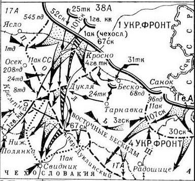 Карта-схема Карпатско-Дуклинской операции.
