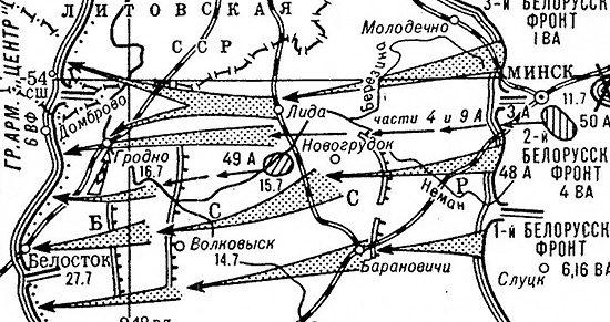 Карта-схема Белостокской операции.