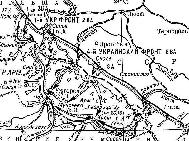 Карта-схема Карпатско-Ужгородской операции.