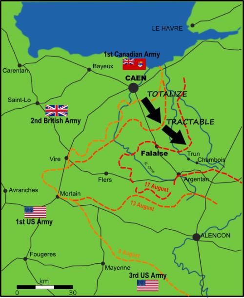 Карта-схема образование Фалезского «мешка», 8-17 августа 1944 г.