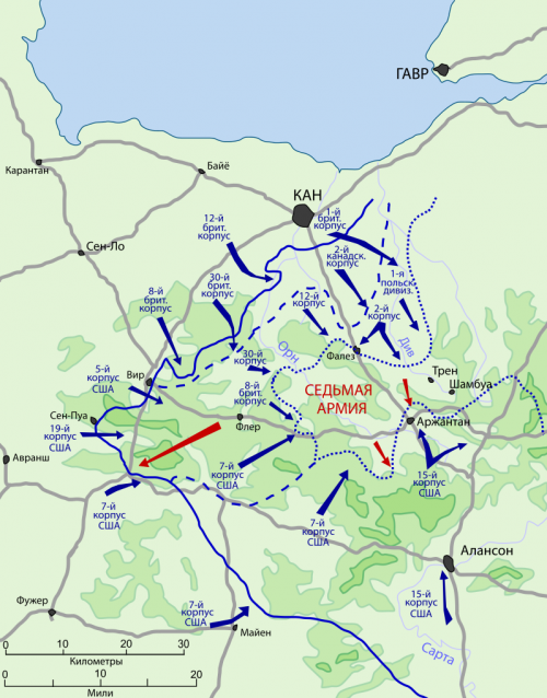 Карта-схема Фалезской операции.