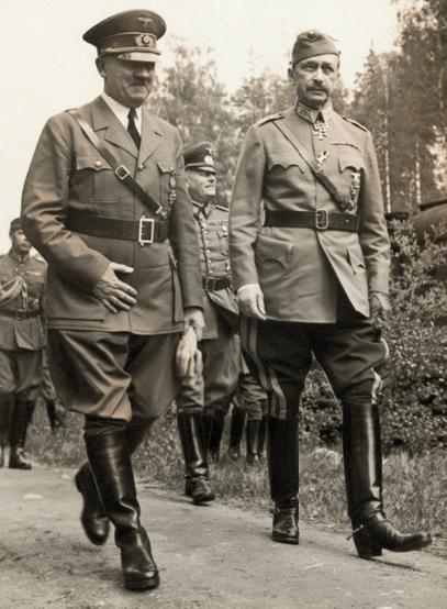 Гитлер в Финляндии на 75-летии Маннергейма (1942 г.).