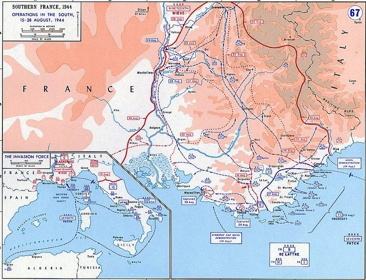 Карта боевых действий на юге Франции.