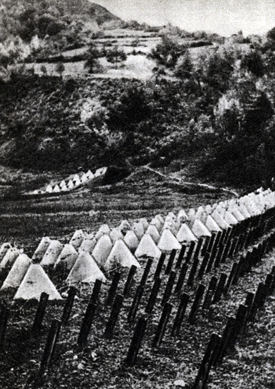 Германские противотанковые оборонительные сооружения в Карпатах.