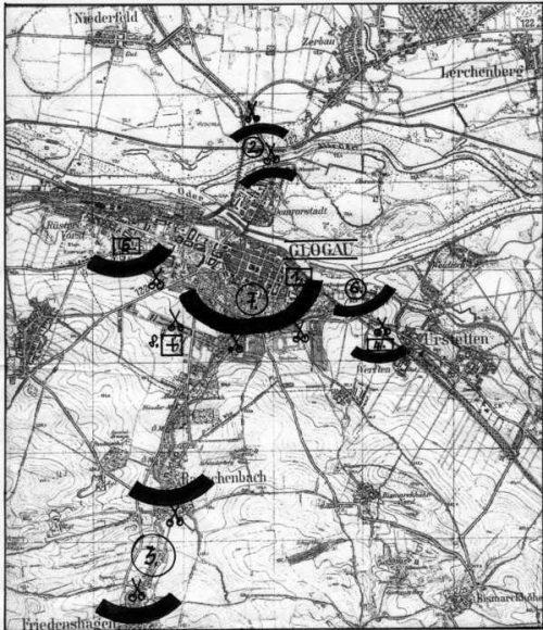 Карта-схема обороны Глогау.