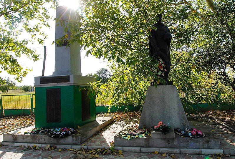 с. Баландино Каменского р-на. Памятник, установленный на братской могиле, в которой похоронено 142 советских воина, в т.ч. 61 неизвестный, погибших в боях за село и памятный знак погибшим односельчанам.