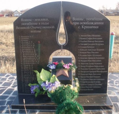 с. Кринички Софиевского р-на. Братская могила, в которой похоронено 24 советских воина, погибших в боях за село и памятный знак погибшим односельчанам.
