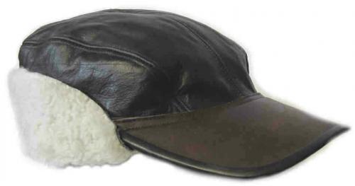 Зимний кепи ВВС с кожаным верхом.